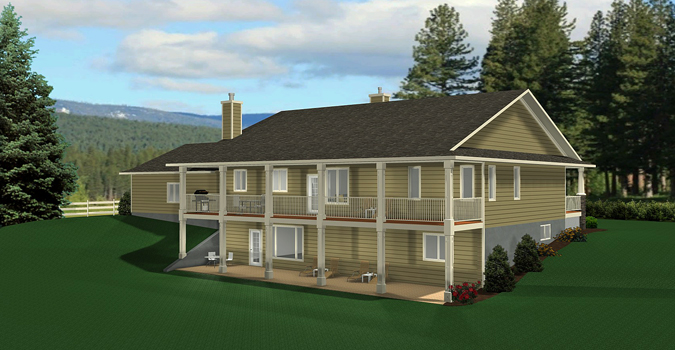 Bungalow house plan 2011545 for House plans with daylight walkout basement
