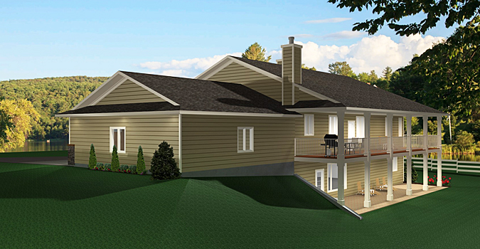 Bungalow house plan 2011545 for Walkout basement design ideas