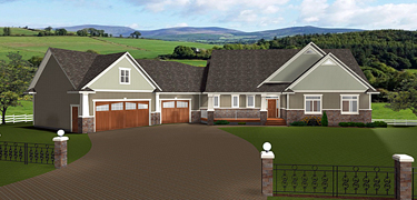 Bungalow House Plans with Angled Garages - Edesignsplans.ca on